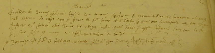 """Fig. 1. A typical contract of the """"Accordi dei Garzoni"""": """"The same day [23rd June 1575] / Baldisera de Zuanantonio boatman, aged about 8 years, declares he has been welcomed by his master and he will work as painter of chests with master Francesco de Philippo painter in san Biagio, for the following 8 years, starting from the 1st June [1575] ; and if he lacks one working day, he must catch it up on ; his master commits himself to teach his craft to him and promises to pay 20 ducats, for his salary, and his expenses. / Mister Zuanantonio, his father, commits himself to repay for any damage […] »2."""